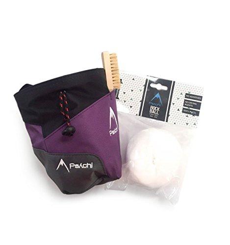 Psychi Premium-Kreidebeutel, Starter-Pack für Bouldern/Klettern, mit Taillen-Gürtel, Kreide-Ball und Bürste., violett
