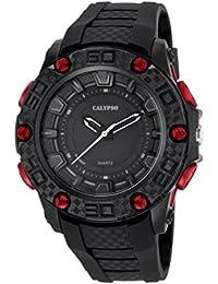 Calypso–Reloj de hombre de cuarzo con Negro esfera analógica pantalla y correa de plástico en color negro k5699/6