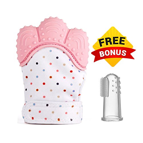Crownzz Baby Teething Mitten with Adjustable Secure Strap & Free toothbrush-Best Mitt to Protect Babies Hand from Saliva and Reduce Teething pain-Self-Soothing Silicone Hand Glove (pink) 414M0iykYgL