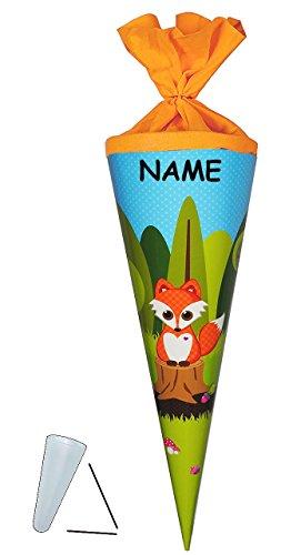 Preisvergleich Produktbild Schultüte - Fuchs mit Pilz - 70 cm - rund - incl. NAMEN - Filzabschluß - Zuckertüte - mit / ohne Kunststoff Spitze - Glückspilz - Füchse / Waldtiere Eichhörnchen Punkte - für Mädchen & Jungen - Glücksbringer - Tiere des Waldes