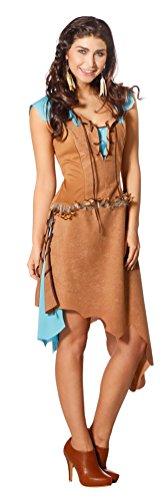 Karneval-Klamotten Indianer Kostüm Damen sexy Luxus Indianerin Kostüm braun türkis Karneval Damen-Kostüm Größe 38