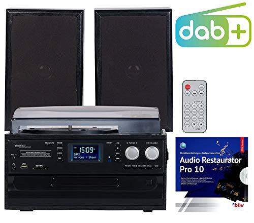 auvisio Musikanlage: 5in1-Plattenspieler mit DAB+/FM-Radio, Bluetooth, CD/Kassetten-Player (Kompakt Anlagen)