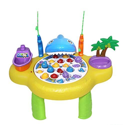3 Lite Track (Janly Kinderspielplatz Parenting Fishing Flashing Lights und Musik-Geschenk-Spielzeug Kinder Ocean Fishing Track Paradise Angeln Spielzeug (Gelb))
