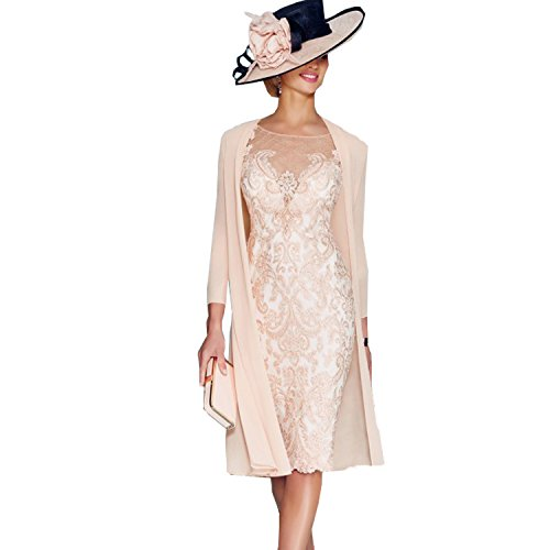 dressvip Elegant Rosa Chiffon Kleider Damen Festlich (44)