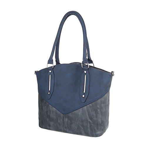 iTal-dEsiGn Damen-Tasche Mittelgroße Schultertasche Handtasche In Used Optik Kunstleder Blau TA-C570