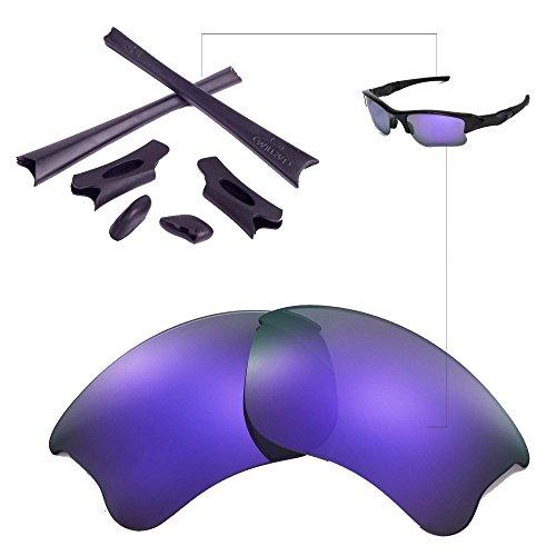 Walleva Ersatzgläser oder Linsen/Gummisatz für Oakley Flak Jacket XLJ Sonnenbrille - 26 Optionen (Lila Polarisierte Linsen + Schwarzer Gummi)
