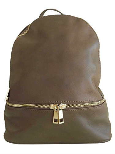 Sac à dos en cuir taille M, pour femme, made in Italy (chocolat)
