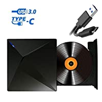 ‏‪Typec USB External Optical Drive, Portable Ultra-Thin DVD-RW ROM Burner Optical Drive Discs Writer Player for Laptop Notebook PC Computer‬‏