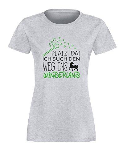 Platz da - Ich such den weg ins Wunderland Einhorn - Damen Rundhals T-Shirt Grau/Schwarz-gruen