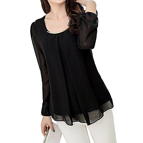 TOOGOO(R) Women's Chiffon Long Sleeve Slim O-neck Casual Blouse Tops T-Shirts Black XXL