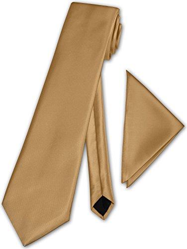 Herren Krawatte klassisch mit Einstecktuch Klassik Anzug Satinkrawatte - 30 Farben (Gold)