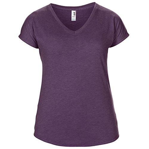 Anvil Damen Kurzarm Tri-Blend T-Shirt mit V-Ausschnitt Hellgrau