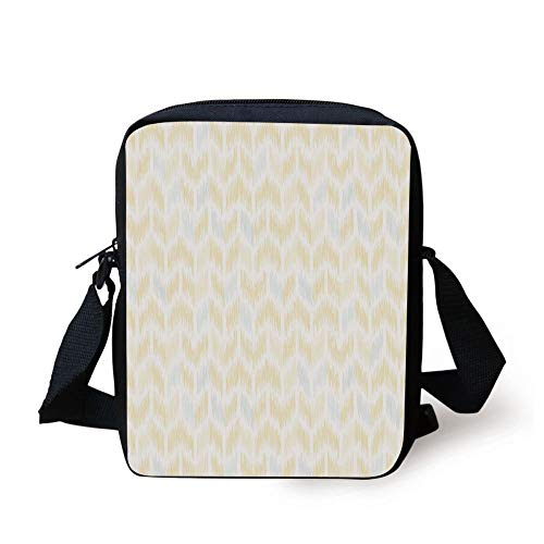 Yellow Chevron,Ikat Style Abstract Sketchy Looking Faded Zigzag Motif Tile Decorative,Marigold Light Blue White Print Kids Crossbody Messenger Bag Purse