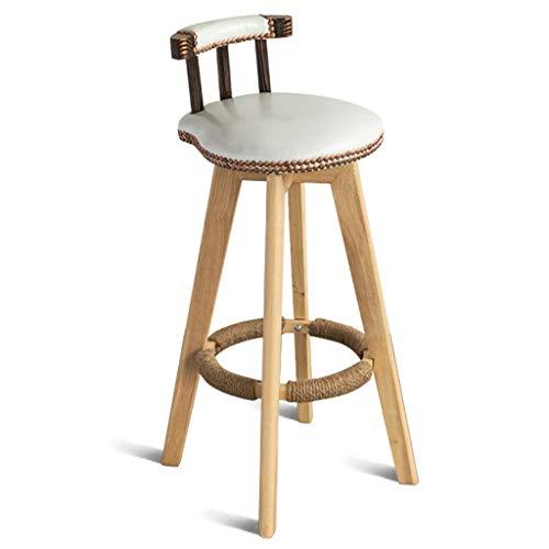 Bar-stuhl-seat-kissen (Holz Beine Hanfseil Fußschemel PU Kissen Sitz Zurück Küche Esszimmer Stuhl Bar Café Barhocker LEBAO (Color : White, Size : Seat Height:53cm))