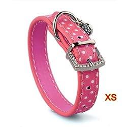 Collar Correa Cuero PU Color Rosa Ajustable para Perro Mascota XS
