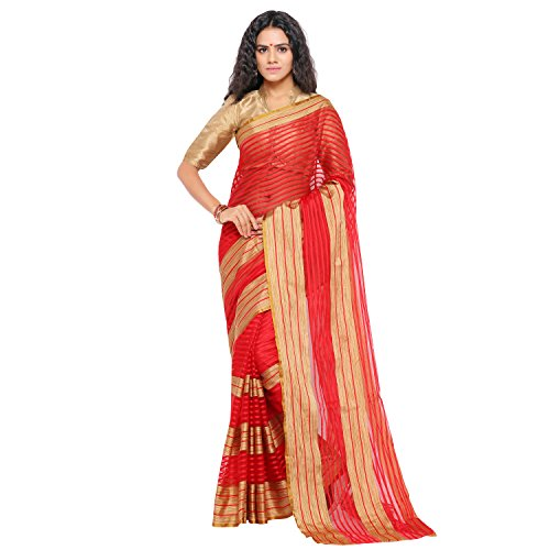 sarvagny clothing art silk red color daily wear party wear saree with...