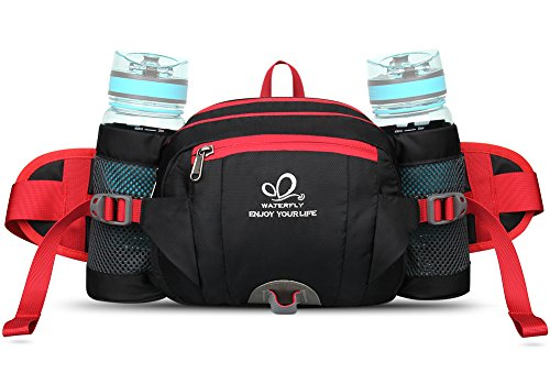 WATERFLY Hiking Waist Pack Bum Bag Waist Bag with Bottle Holder Running Bag for Camping Climbing Travel Cycling and Dog Walking