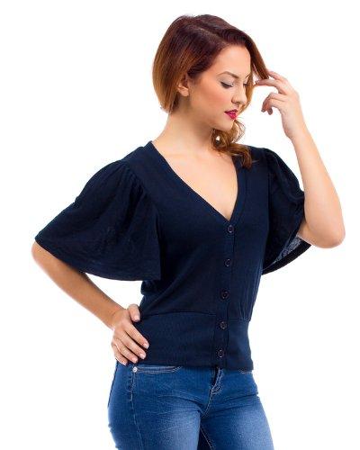 Luftiges Batwing Top Cardigan Shirt mit Fledermausärmeln in vielen Farben Schwarz