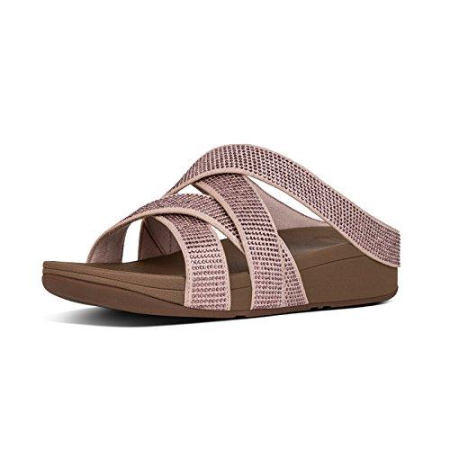 FitFlop Damen Slinky Rokkit Criss-Cross Slide Offene Sandalen mit Keilabsatz, Pink (Nude 137), 40 EU -