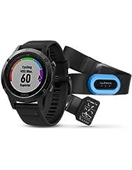 Garmin fenix 5 Saphir - Cardiofréquencemètre - Performer Bundle / Premium HRM-Run Brustgurt + QuickFit gris/noir 2017 cardio velo