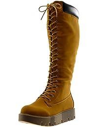 Angkorly Chaussure Mode Botte Rangers Motard Plateforme Femme Matelassé Lacets  Talon Compensé Plateforme ... 30d9ed8915f4