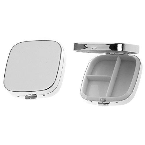 Pillendose 3 Fächer 6x6x1,5 cm Silber Plated versilbert. Pillendöschen, Aufbewahrungsbox, Tablettenbox, Pillenbox