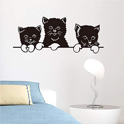 jkhhi Nette Katze Thema Familienzimmer Fenster Fototapete Dekorative Aufkleber Abnehmbar Leinwanddrucke Wandaufkleber Kunstdruck -