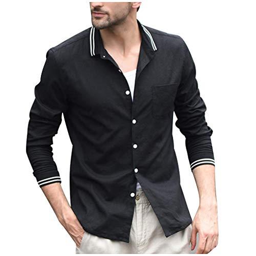 Crazboy Herren Jahrgang Pure Farbe Taste Leinen Einfarbig Lange Ärmel Retro Hemden Tops Bluse(Schwarz,Large) -