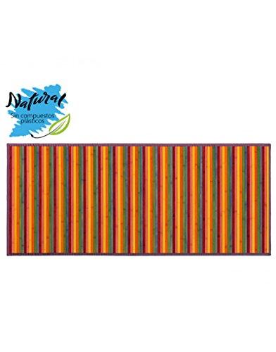 Alfombra de Bambú Multicolor colores cálidos