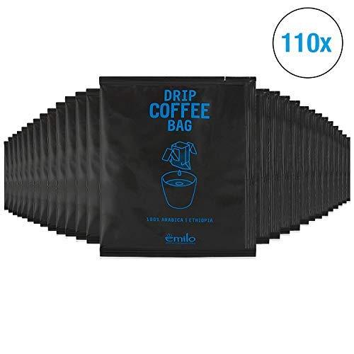 Filterkaffee von emilo - 100% Arabica Kaffee Vorratsbox - Filterbeutel mit gemahlenem Kaffee zum selbst aufbrühen - Frisch gerösteter aroma Kaffee - Drip Coffee Bag ETHIOPIA, 110 Stück