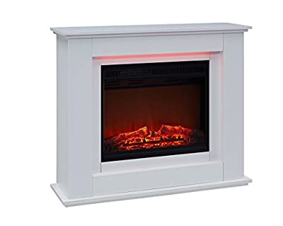 Traditional Electric Fireplace Black or White with Remote Control LED