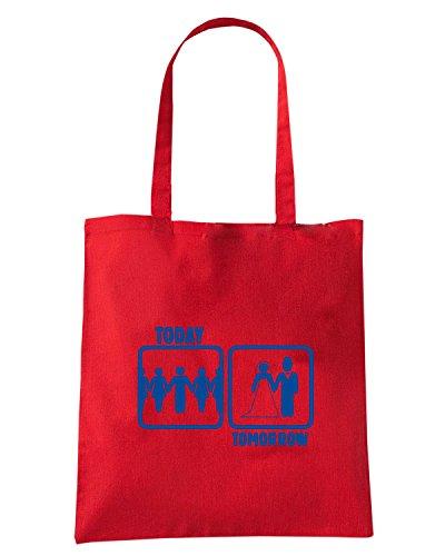 T-Shirtshock - Borsa Shopping MAT0079 Today Tomorrow Maglietta Rosso