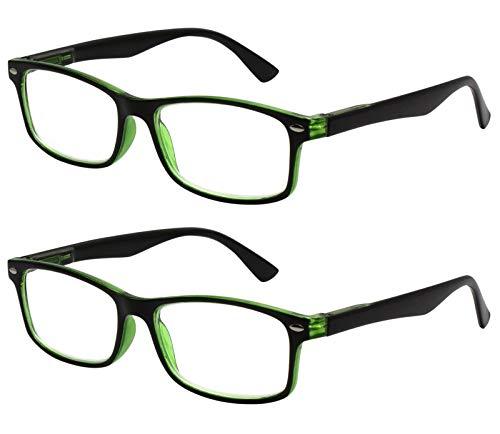 Tboc occhiali da vista lettura presbiopia - (pack 2 unità) graduati +2.00 diottrie montatura bicolore nera e verde fashion leggeri quadrati da vicino computer donna uomo unisex
