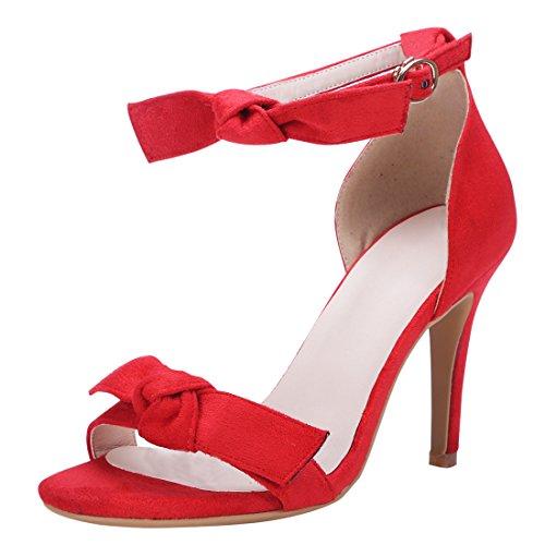 UH Femmes Sandales avec Petite Noeud Classy Suede Bout Ouvert à Talons Moyen Aiguilles de 9 CM pour Partie ou Mariage Rouge
