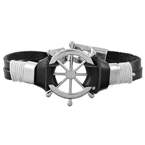 Herren Jungen Leder Armband Schwarz Silber Ruder Anhänger 20cm