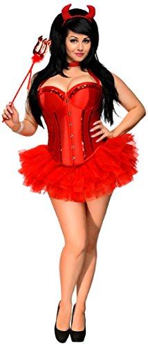 Kostüm Erwachsene Für Red Hot Damen Devil - Daisy Corsets Gänseblümchen Korsetts Damen 4-teilig Rot Hot Devil Kostüm - Rot - 3X