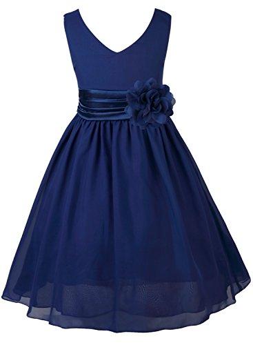(Tiaobug Kinder Mädchen Kleid Festlich Blumen-mädchen Chiffon Kleid Prinzessin Party Kleid Hochzeit Festzug 92-164 Marineblau 164)