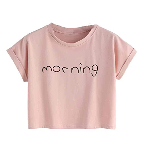 KEERADS T-Shirt Damen Sommer Bauchfrei Kurzarm Crop Tops Oberteile Bluse (S, Rosa)
