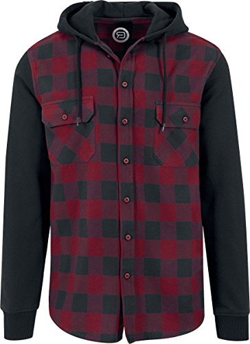 RED by EMP Hooded Checked Flanell Hemd Schwarz/Burgund 4XL (Flanell Burgund)