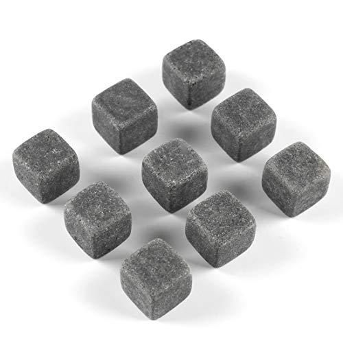 Kelis Whiskey Stones Geschenkset - 9 wiederverwendbare Marmor-Eiswürfel Speckstein-Eiswürfel Getränkekühler BJSZ-01