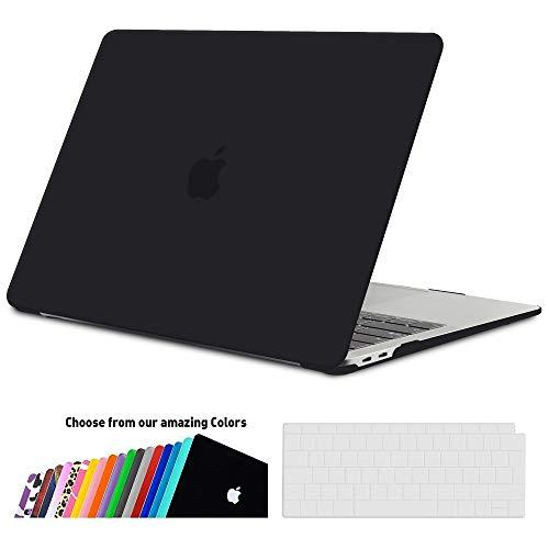 iNeseon MacBook Air 13 Hülle Case 2018, Ultradünne Hartschale Cover Schutzhülle + Tastaturschutz Apple MacBook Air 13.3 Zoll mit Retina Display Touch ID Modell A1932, Schwarz