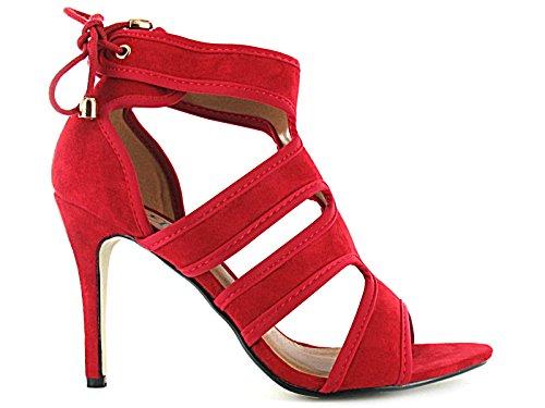 Foster Footwear - tacones altos mujer, color rojo, talla 35.5