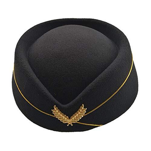 Hut Kostüm Floppy Schwarzen - Schatten Beret Hat für Damen Elegante Wolle Flugbegleiter Hut Kostüm Etikette Hat Female Stilvoll (Farbe : Schwarz)