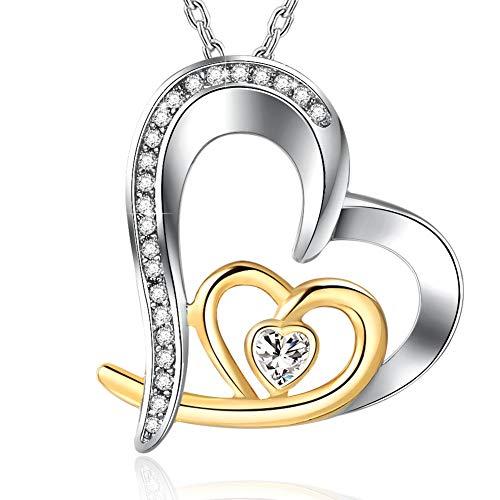 ' 925 Silber Schmuck Halskette Damen, Herz Kette Damen, Liebe für Immer ()