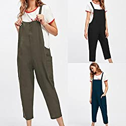 2018 Women Dungarees Jumpsuit, GreatestPAK est Loose Cotton Pockets Rompers Playsuits Casual Pants Summer Outfits