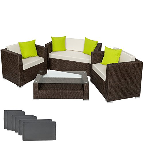opiniones tectake poliratan aluminio conjunto tresillo muebles de ratan conjunto para jardin marron antiguedad set fundas almohadas tornillos de