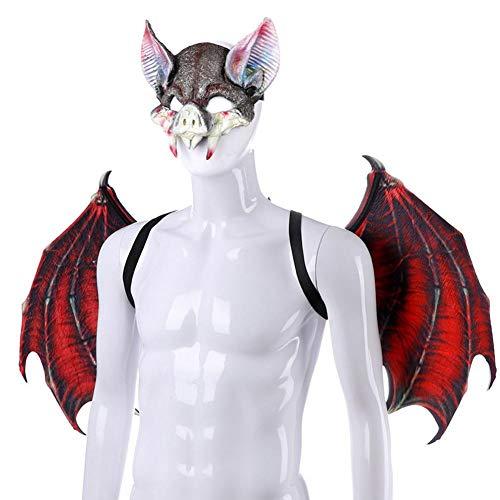 Ecisi Herren Damen Kind Fledermausflügel Kostüme Wicked Maske und Flügel Set für Halloween Party Weihnachten Karneval Ostern und Silvester Party (Wicked Kostüm Kinder)