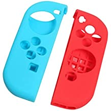 NF&E Protective Anti-Slip Silicone Skin Case For Nintendo Switch Game Controller Blue+Red