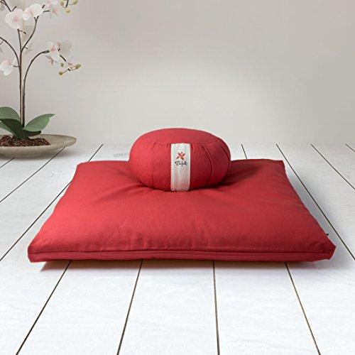 ZAFUKI Pack Zafu + Zabutón Rojo/Cojín para Yoga, Redondo/zafu/Cojín de meditación/Estera meditación, colchoneta meditación y Yoga, Base para cojín de meditación.