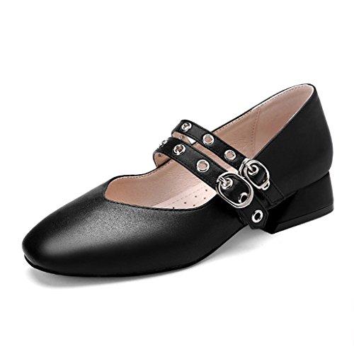 1e71261c952 Hwf Femmes Chaussures Printemps Rétro Femmes Chaussures Plat Bouche Peu  Profonde Chaussures Simples Tête Carrée Art